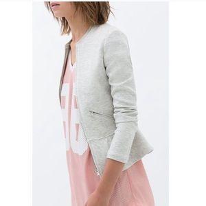 Zara trafaluc peplum zip sweater size small